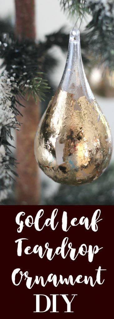 Make your own gold leafed teardrop ornaments.