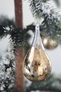 Gold leaf teardrop ornament