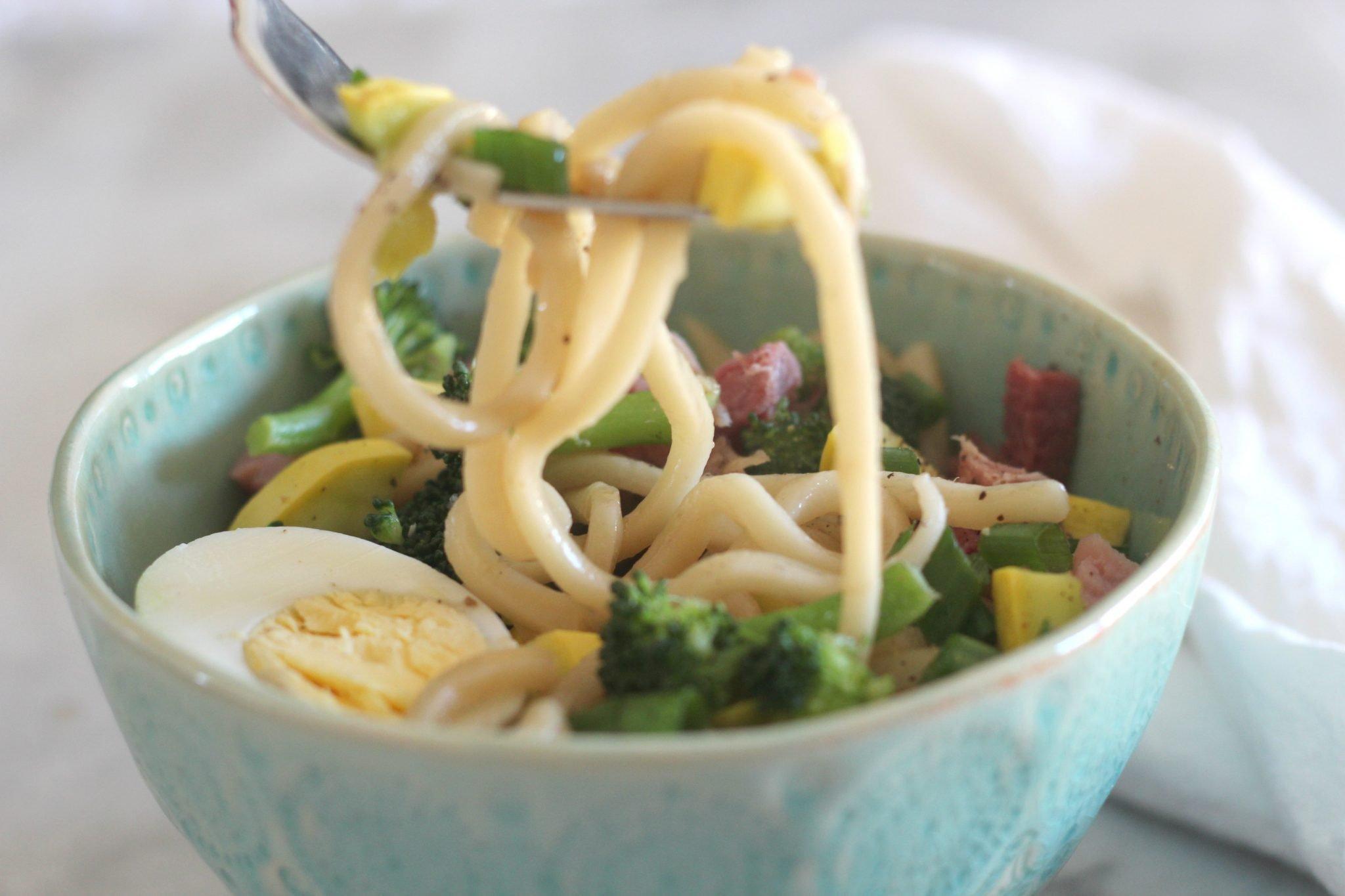 Ham and veggie udon noodle soup