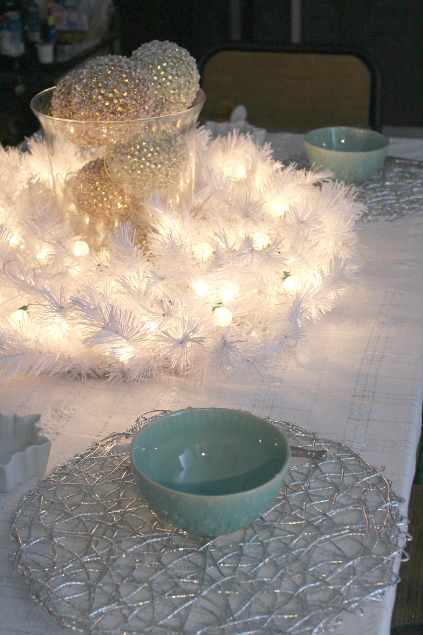 Glam NYE White Wreath Centerpiece