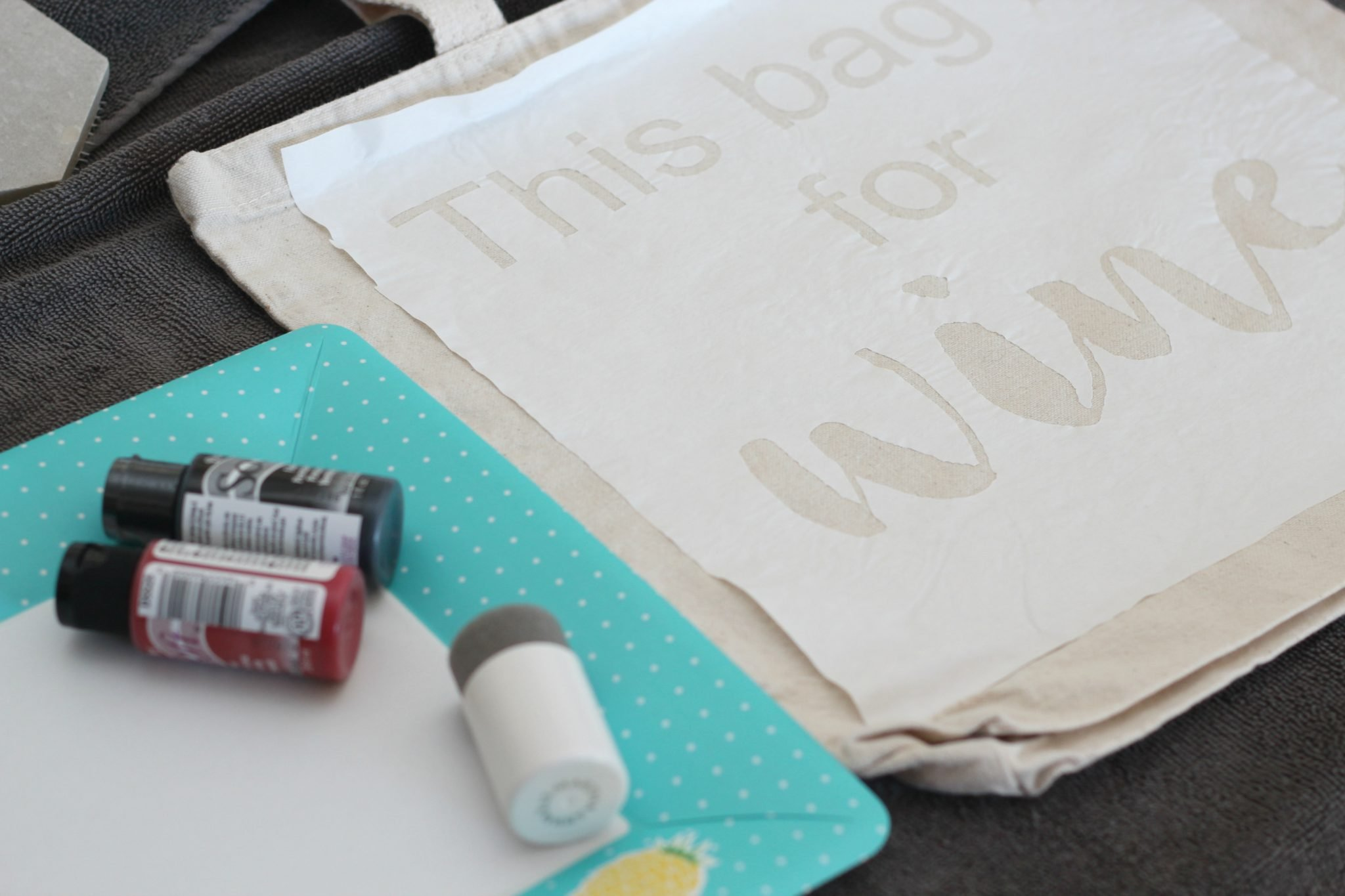 Freezer Paper Stenciled Canvas Tote