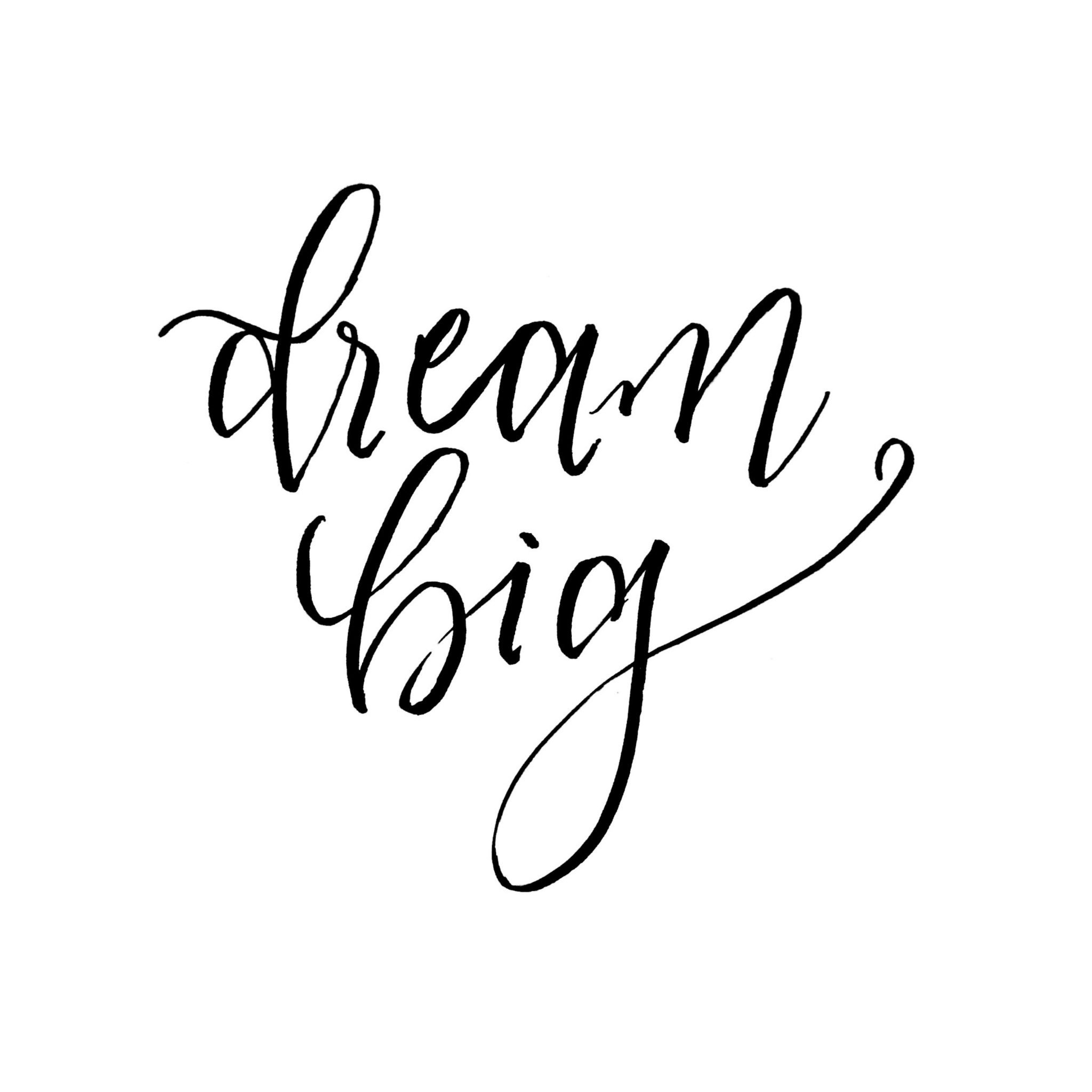 dream big lettering, created with Tombow Fudenosuke Soft Tip Brush Pen