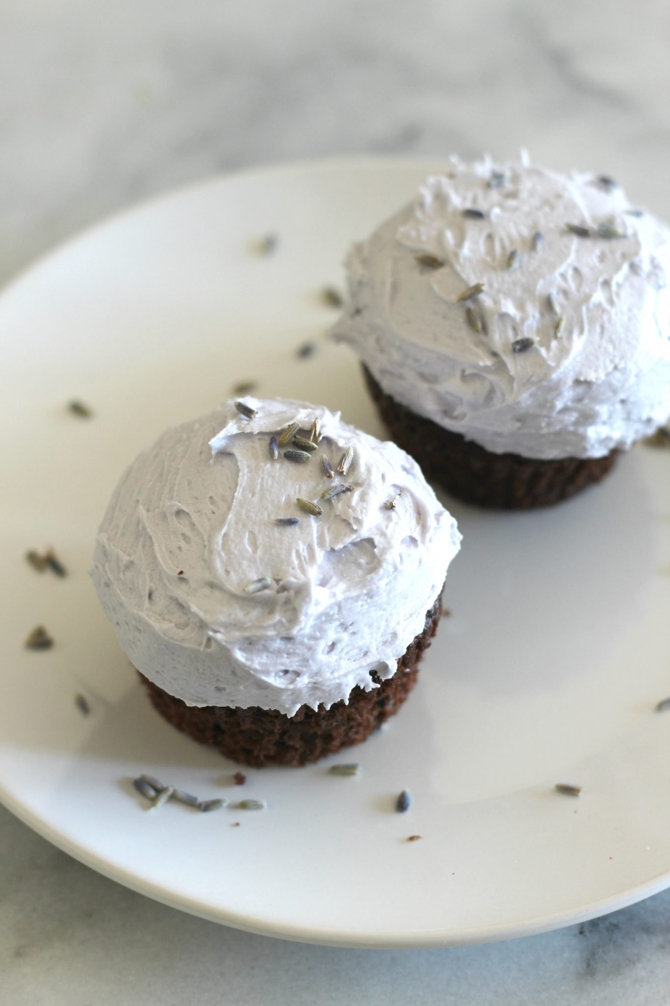 Chocolate Buttermilk Cupcakes with Lavender Buttercream Frosting