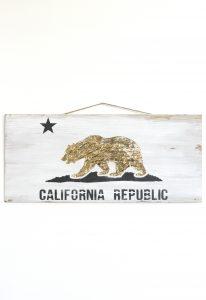 Gold Foil Stenciled California Flag Sign