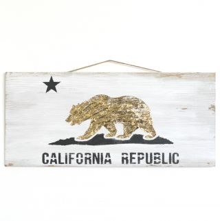 Stenciled and gold foiled California flag sign.