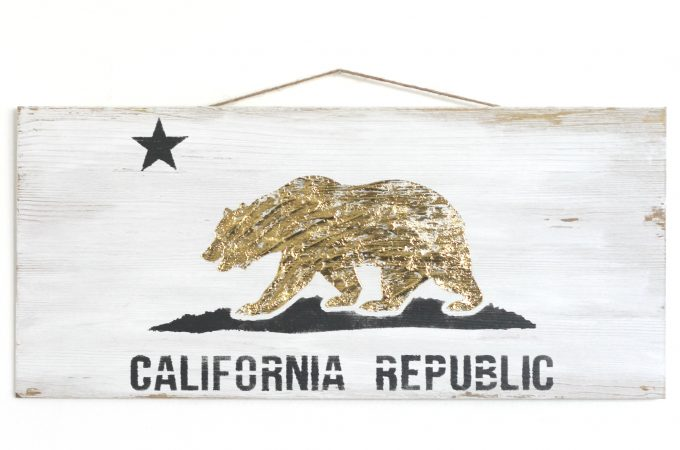 Gold Foil Stenciled California Flag Sign