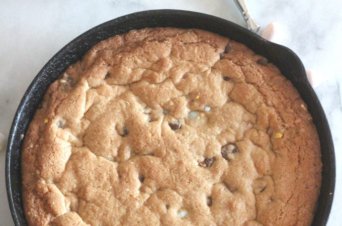 Easter Deep Dish Chocolate Chip Cookie with Mini Eggs