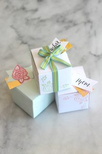 These sweet little Springtime Paper Flower Gift Boxes are handmade using Spellbinders dies. Simple and perfect for little gifts and favors.