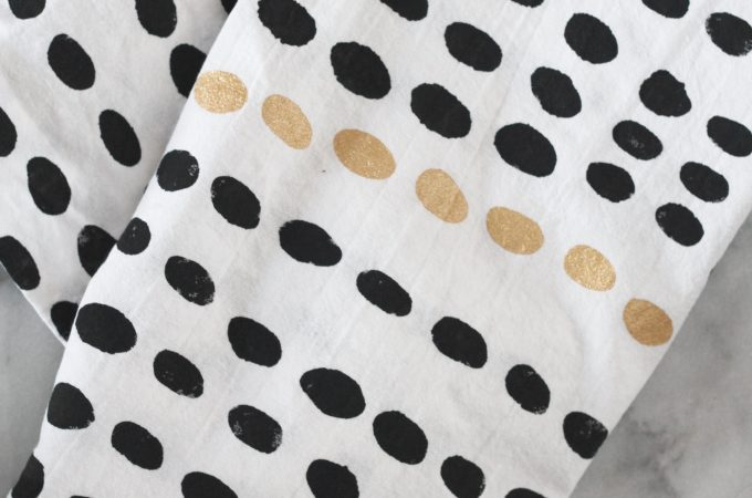 Black and White Stenciled Kitchen Towel