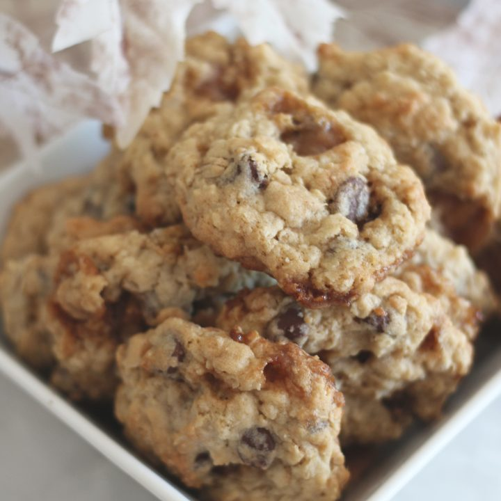 Toffee Chocolate Oatmeal Cookies