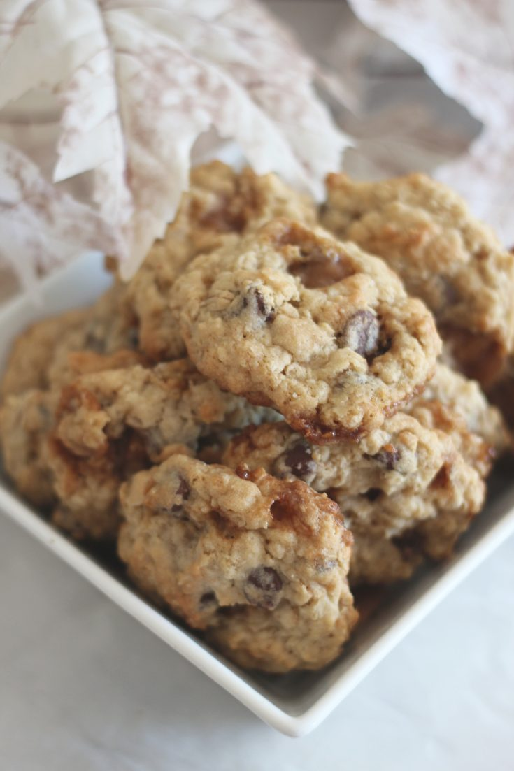 Chewy Toffee Chocolate Oatmeal Cookie