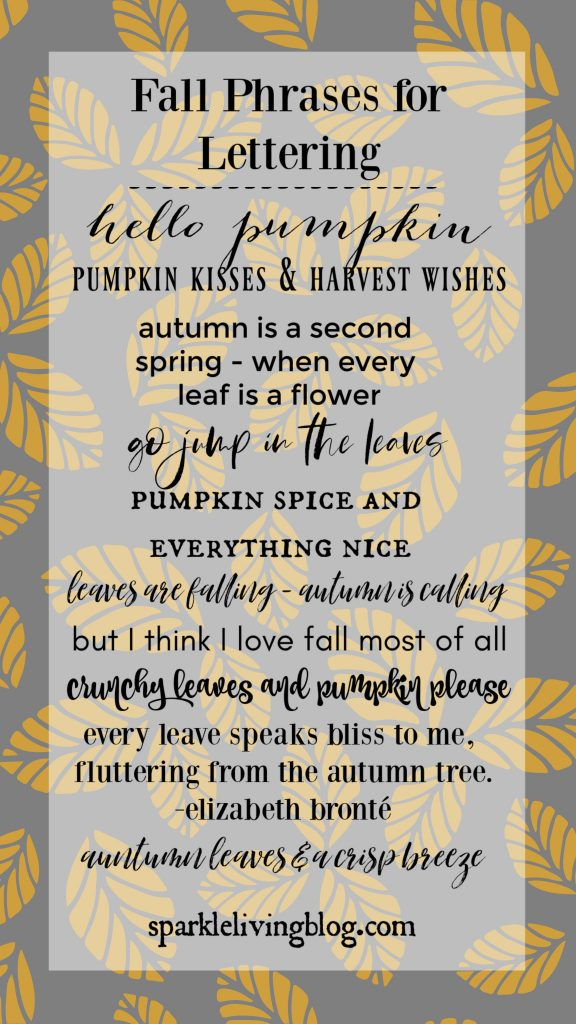 list of fall phrases for lettering