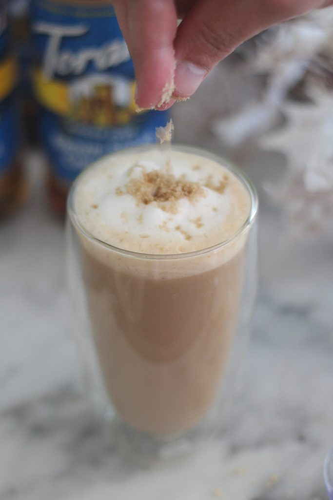 brown sugar cinnamon garnish, oatmeal cookie latte