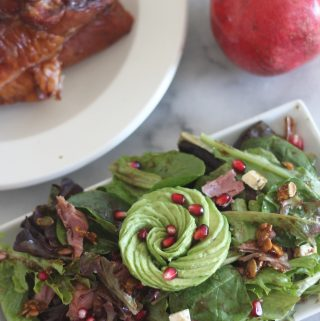 Smoked turkey, avocado and pomegranate salad.