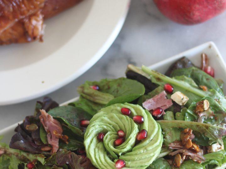 Smoked turkey, avocado and pomegranate salad.