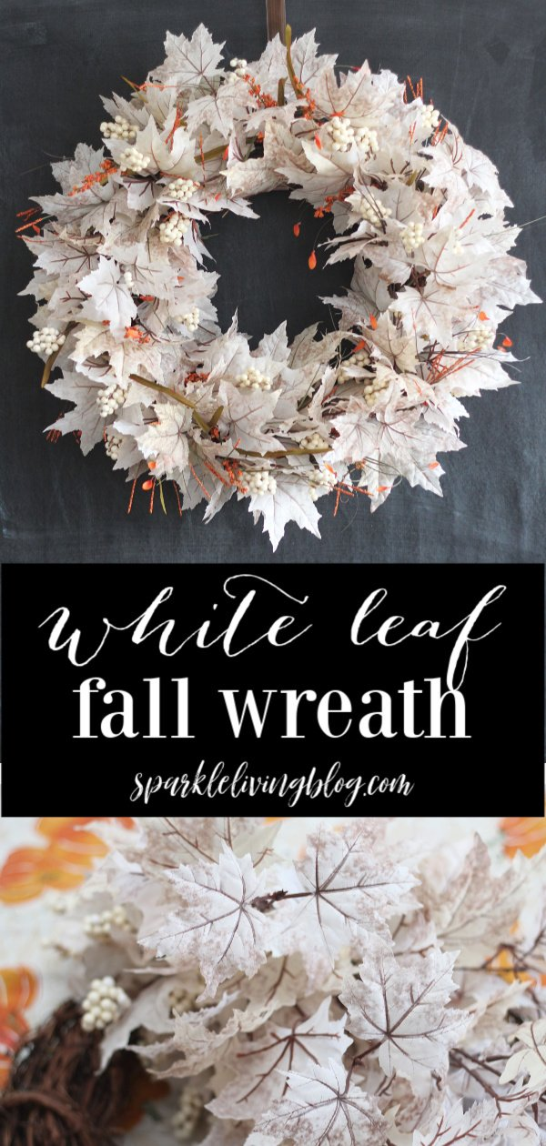 Make a statement on your front door with this White Leaf Fall Wreath tutorial. #falldecor #fallcrafts #autumn #fall #doordecor #fallwreath #farmhousechic
