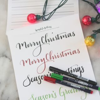 Practice you Christmas lettering with this free, printable Merry Christmas Brush Lettering Practice Sheet!