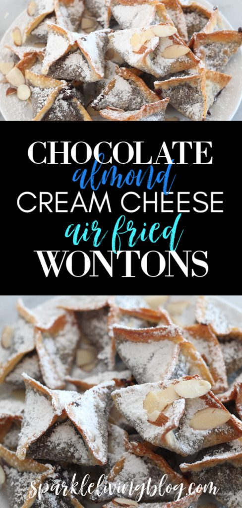 These chocolate almond cream cheese air fried wontons are a fun twist on dessert and taste great served warm or cold. #ad #twindragonwrappers #airfryerrecipes #chocolaterecipes #airfryerdesserts #wontons #chefyaki #