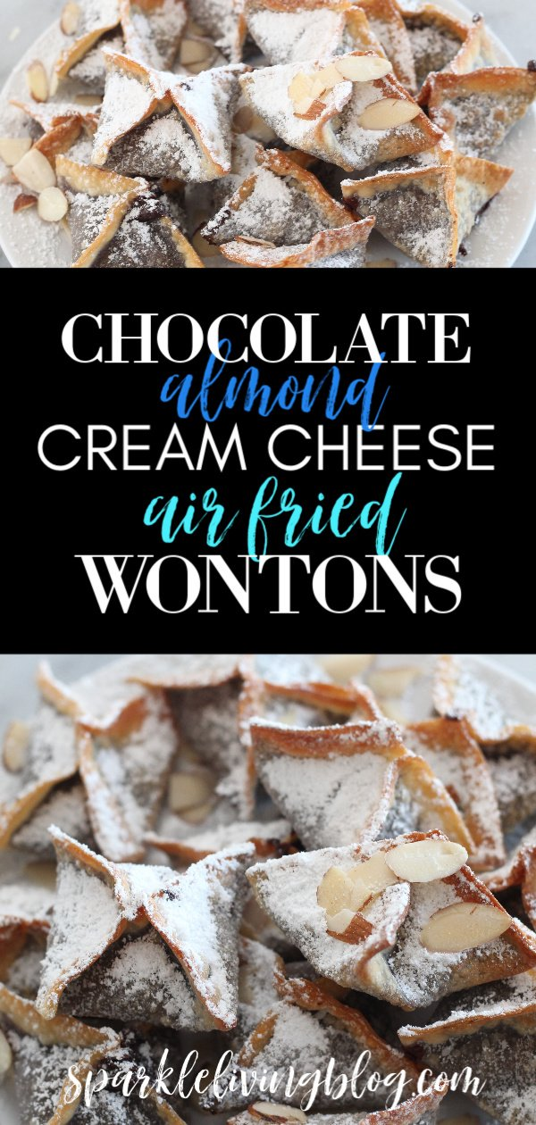 These chocolate almond cream cheese air fried wontons are a fun twist on dessert and taste great served warm or cold. #ad #twindragonwrappers #airfryerrecipes #chocolaterecipes  #airfryerdesserts #wontons #chefyaki
