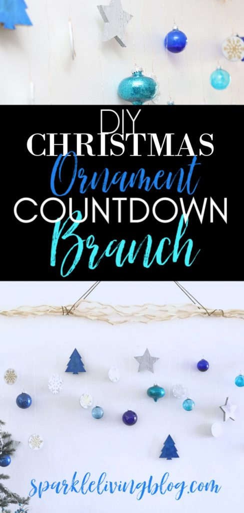 Make your own hanging branch ornament display! #sparkleliving #turquoiseandindigo #blueandwhitechristmas #christmascountdown #DIYadventcalendar