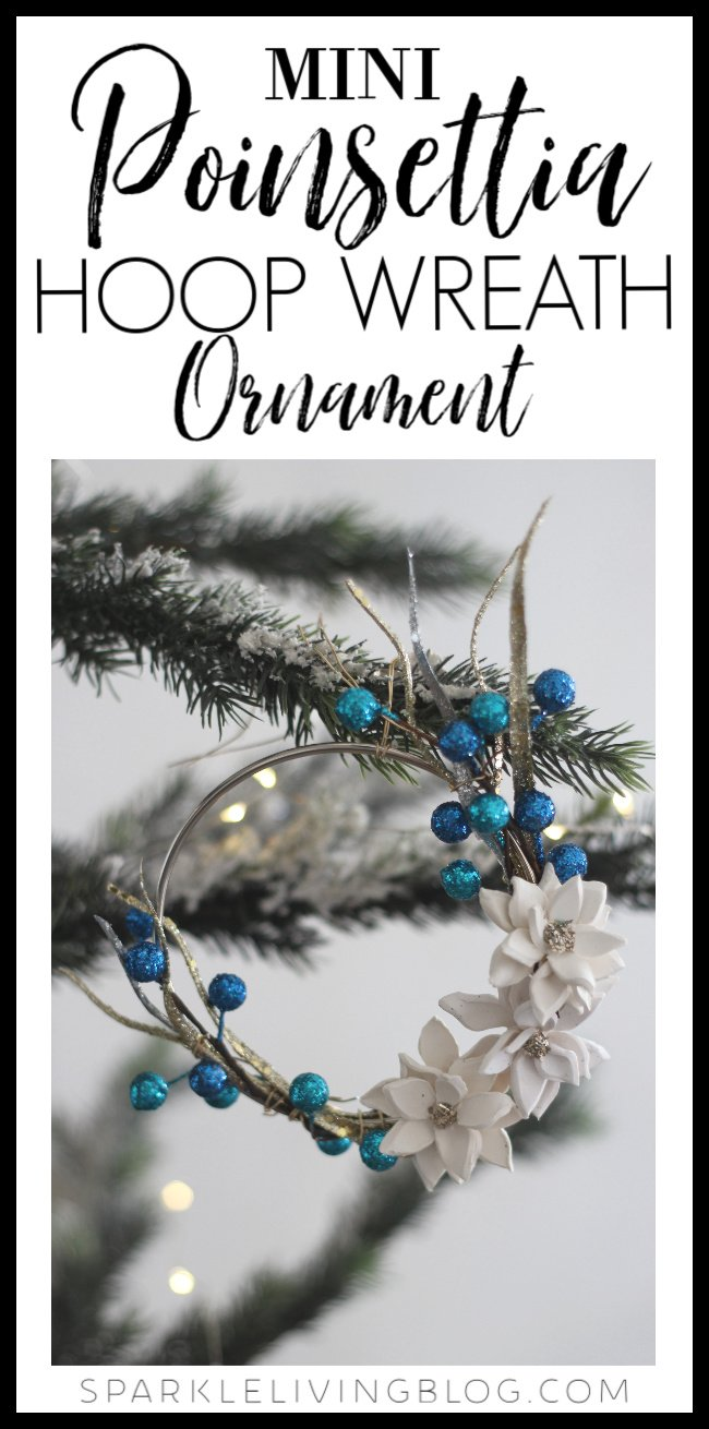Modernize your Christmas tree by making this Mini Poinsettia Hoop Wreath Ornament! It's easy to customize the colors and looks gorgeous! #Christmas #christmasornament #diychristmas #handmade #handmadeornament #poinsettia #sculpeyclay