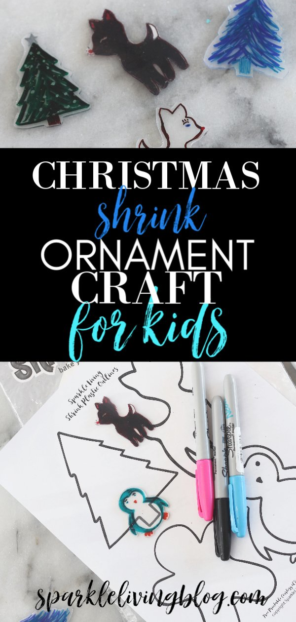 Need a fun Christmas craft for kids? Use shrink plastic and Sharpies and let them make these fun little figures. A free printable of Christmas outlines is included too! #Kidcrafts #christmascraftsforkids #handmadeornaments #shrinkydinks #kidsornaments