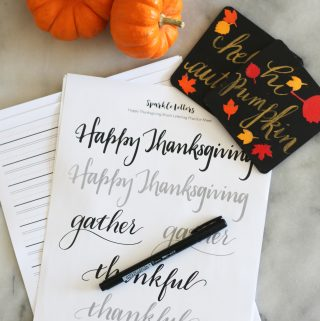 Happy Thanksgiving brush lettering worksheet free printable download