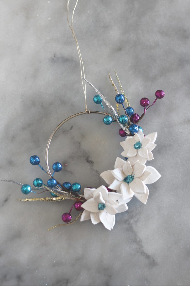 Mini Poinsettia Hoop Wreath Ornament
