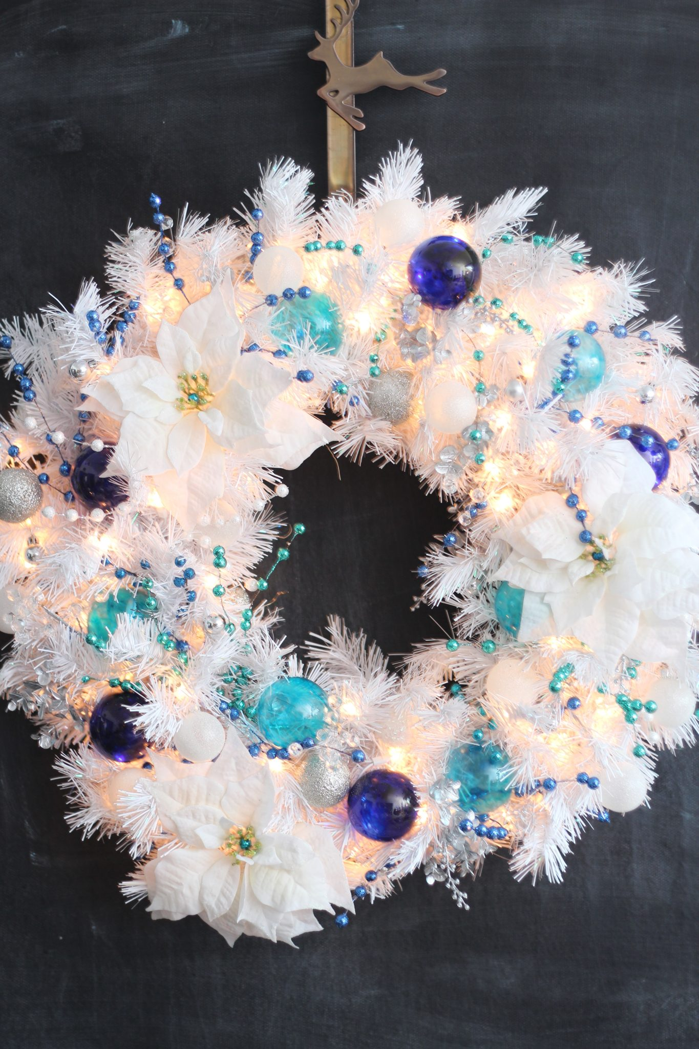 innovative design a98c6 e6f22 DIY Turquoise and Cobalt White Christmas Wreath * sparkle ...