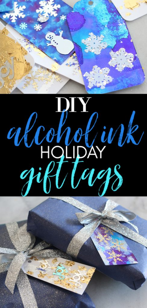 Make your own alcohol ink holiday gift tags in any color and theme that you want! #sparklelivingblog #alcoholink #christmascrafts #christmastags #blueandindigochristmas #12daysofchristmas #