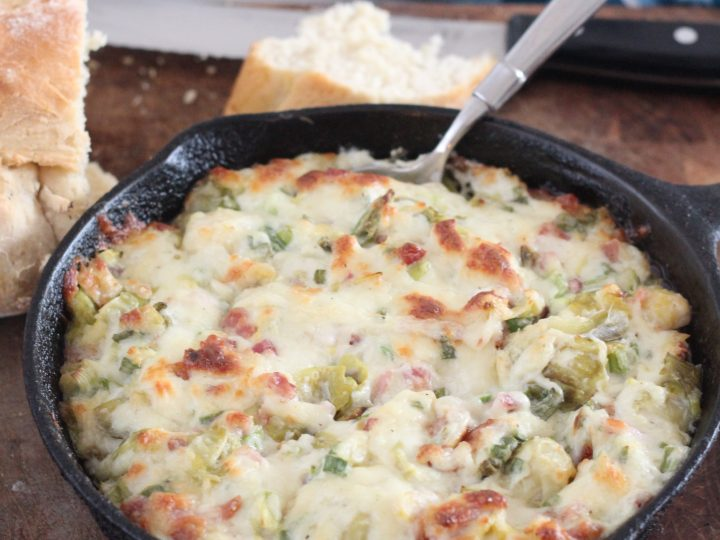 This Bacon, Brussels Sprouts and Garlic Cheese Dip is a delicious appetizer that is really easy recipe to make! #ad #sparklelivingblog #PaisleyFarm #PaisleyFarmFresh #Kroger #gamedaysnacks #lowcarb #appetizer