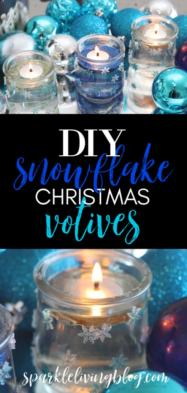 Make these snowflake votives with this fun tutorial. It's a perfect craft for the holidays and through the winter too! #sparklelivingblog #christmascrafts #wintercrafts #upcycledcrafts #christmasinjar #diycandles #handmadeholidays #blueandwhitechristmas #snowflakedecor