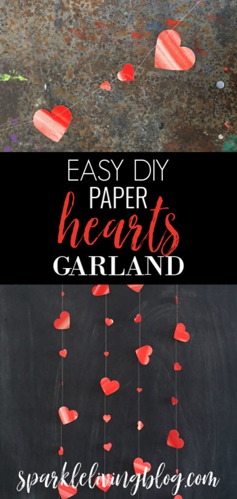 Create this easy DIY paper hearts garland! The hearts look like they are dancing and this craft can easily be turned into a giftable card! #sparklelivingblog #valentinescrafts #papercrafts #hearts #valentinesdecor #watercolor #diygarlands #homedecor