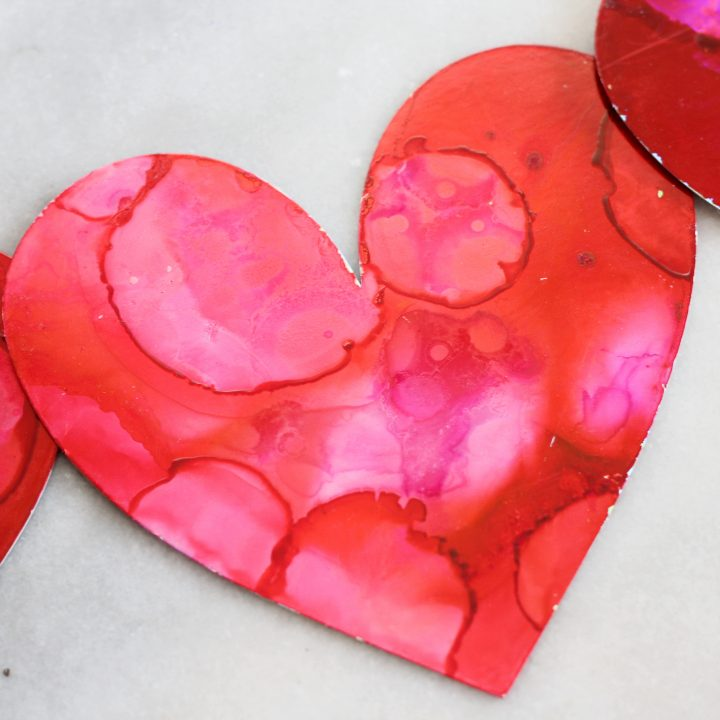 Alcohol Ink Valentine Hearts