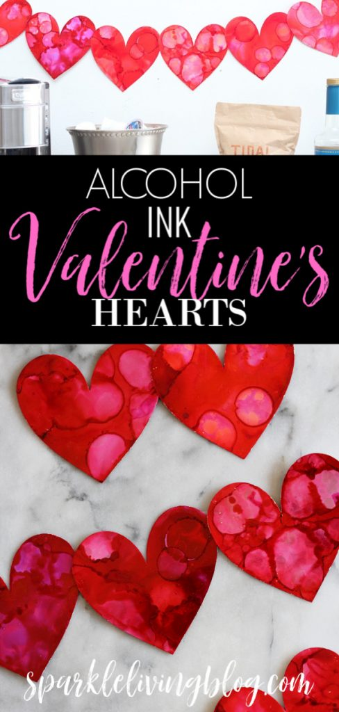 Feeling the love yet? You will when you create these alcohol ink Valentines hearts. They can be used as cards, a banner or to decorate anything! #sparklelivingblog #valentinescrafts #alcoholink #heartcraft #valentinesdecor #papercraft #papervalentines #paperhearts #heartdecor