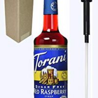Torani Sugar Free Red Raspberry Flavoring Syrup, 750mL (25.4 Fl Oz) Glass Bottle, Individually Boxed, With Black Pump