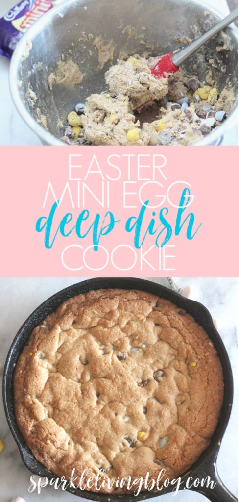 Deep dish cookies are delicious any time of the year, but they are exceptional during Easter when made with Mini Eggs. This recipe for the Easter Mini Egg Deep Dish Cookie is super simple and makes a fun and tasty Easter treat for the whole family! #sparklelivingblog #easter #easterrecipe #easterdessert #skilletcookie #deepdishcookie #pizookie