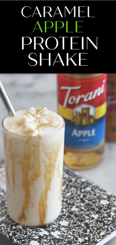 Instead of giving the teacher an apple this year, give them some Torani Apple Syrup so they can make this delicious Caramel Apple Protein Shake! #AToraniMorning