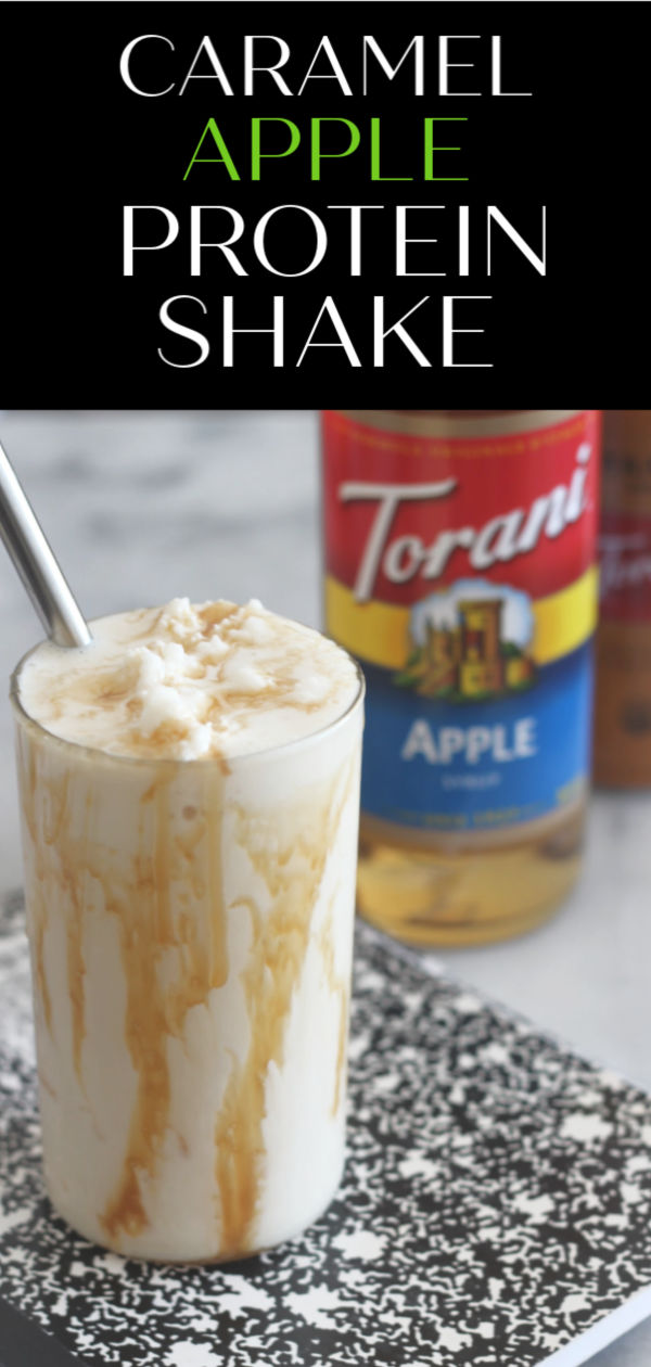 Instead of giving the teacher an apple this year, give them some Torani Apple Syrup so they can make this delicious Caramel Apple Protein Shake! #ad #AToraniMorning #caramelapple #proteinshake