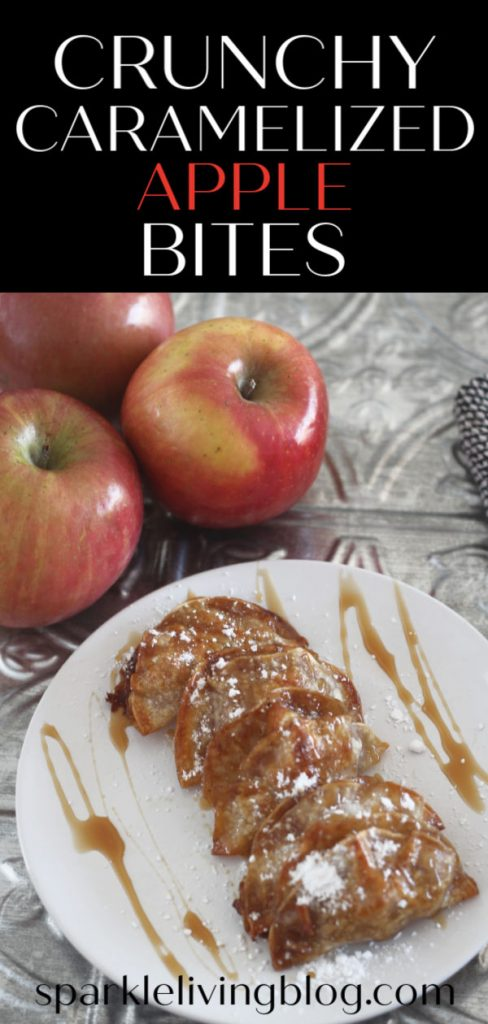 These Crunchy Caramelized Apple Bites are a fun way to eat those apples this fall. This recipe is easy to make and a great party treat! #sparklelivingblog #applepiebites #crunchy #applerecipes #appledesserts