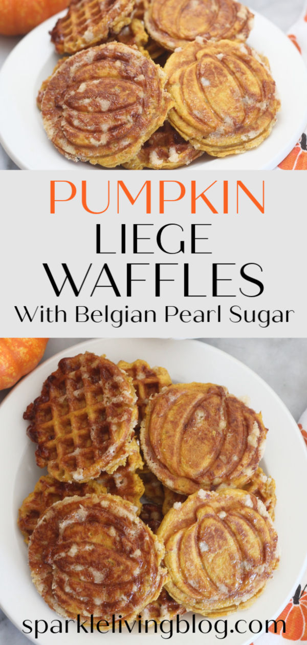 These Pumpkin Liège Waffles are not your typical breakfast waffles, they are thick and flavorful, with a crunch of caramelized sugar on the outside. This recipe is easy to follow and is quite special. #sparklelivingblog #belgianpearlsugar #pumpkinrecipes #pumpkinspice #liegewaffles #pumpkinliegewaffles #pumpkindesserts #fallrecipes