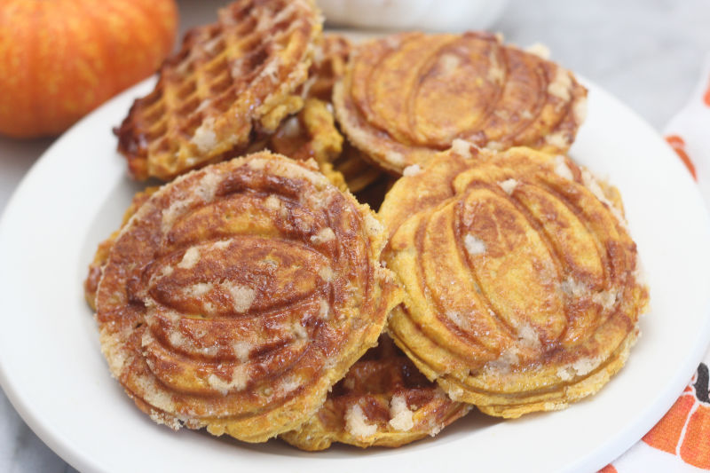 Pumpkin liège waffles on white plate