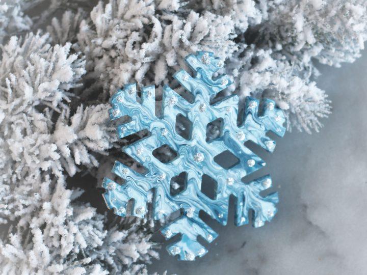 Marbleized Snowflake Ornaments