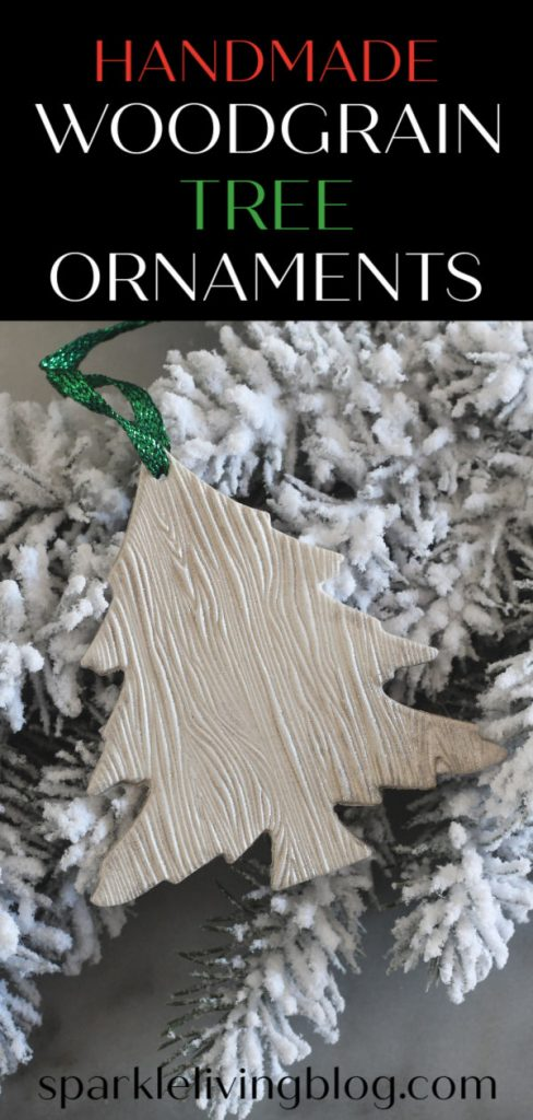 Add elegance and texture to your Christmas tree by making these woodgrain tree ornaments. #christmas #christmasornaments #handmadechristmas #ornaments