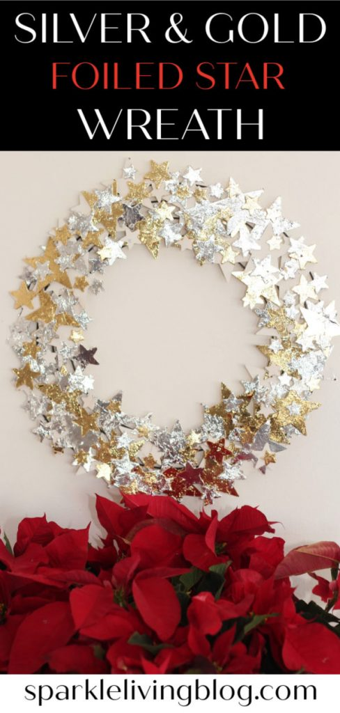 Add some holiday glitz and glam to your Christmas with this gold and silver foiled star wreath that you can make with this easy tutorial!
