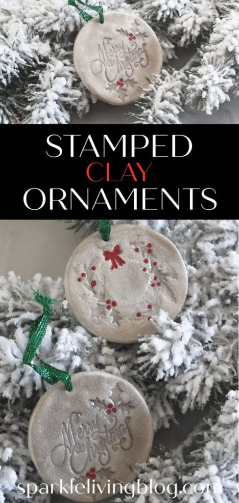 Use clay and rubber stamps to create these beautiful stamped clay Christmas ornaments with this easy tutorial! #sparklelivingblog #christmasornaments #christmascrafts #clay