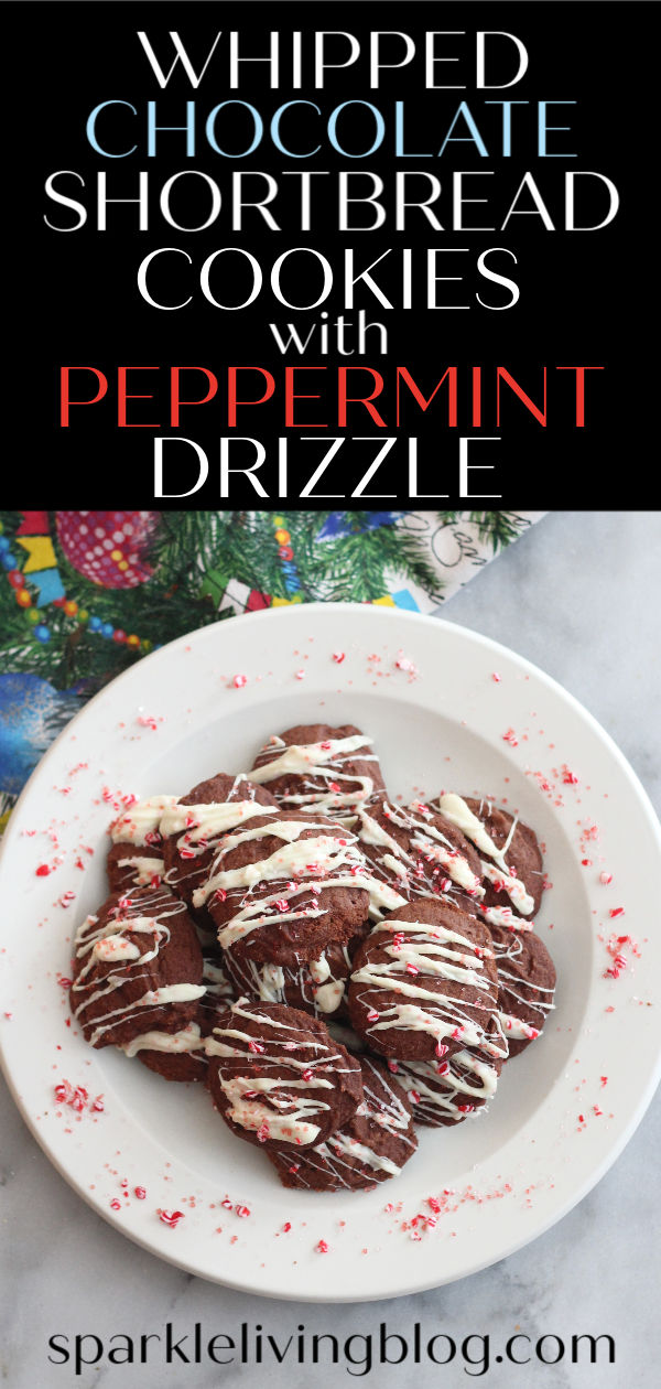 These whipped chocolate shortbread cookies are buttery, yet light and fluffy! A little hint of peppermint on top makes these cookies a hit all winter long! #Ad #FloridaCrystals, #FCChallenge, #Sweeps #ChristmasCookies #HolidayTreats