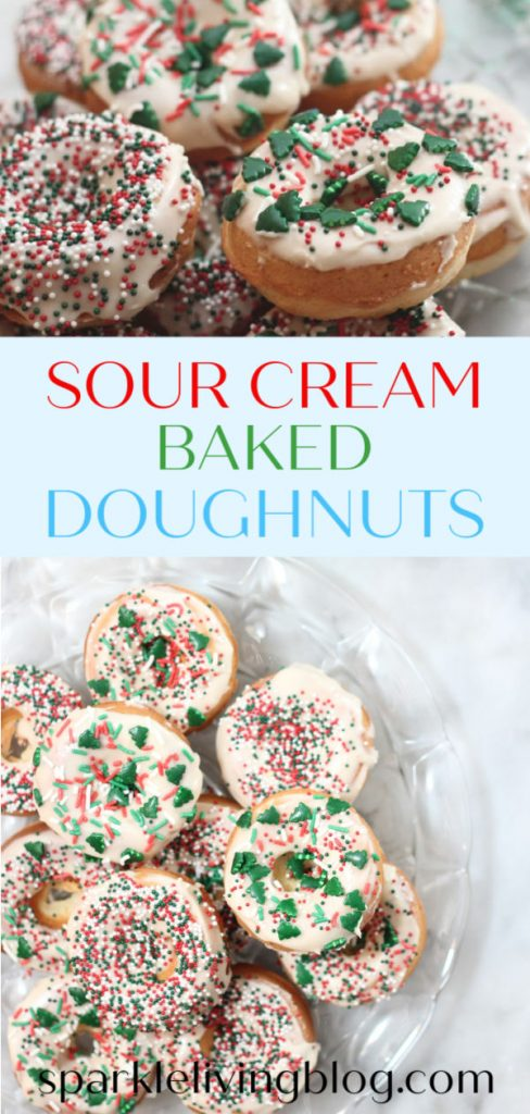 Make these delicious sour cream baked doughnuts for a festive Christmas morning! They are ready to devour in under 30 minutes. #sparklelivingblog #bakeddoughnuts #christmasbreakfast #madefromscratch #sweettreats #bakeddoughnutrecipes