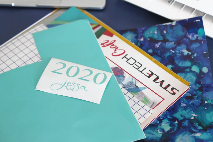 Vinyl cut out for planner cover in Tiff Blue