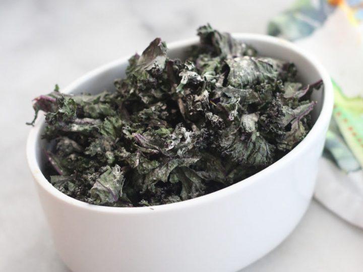 salt and vinegar kale chips in bowl